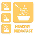 Breakfast cereals or snacks - vector healthy food icons. Royalty Free Stock Photo