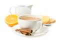 Breakfast.Coffee con crema e pane tostato Fotografie Stock Libere da Diritti