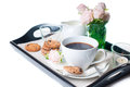 Breakfast, coffee and cookies on a tray Stock Images
