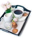 Breakfast, coffee and cookies on a tray Royalty Free Stock Photo