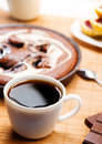 Breakfast with coffee and pie close up Royalty Free Stock Photo