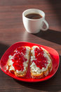 Breakfast with coffee sandwiches cottage cheese and cranberry jam for Royalty Free Stock Image