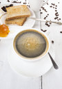 Breakfast with coffee toast and jam on white table Royalty Free Stock Photos