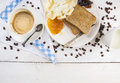 Breakfast with coffee and toast on white wooden table top view copy space Stock Photo