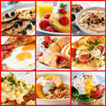 Breakfast collage of images includes pancakes french toast oatmeal bacon and eggs continental omelet muesli and poached egg Stock Photo