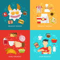 Breakfast concept icons set with champ and takeaway symbols flat vector illustration Royalty Free Stock Image