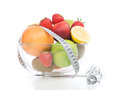 Breakfast concept with tape measure organic green apple Royalty Free Stock Photo
