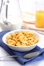 Breakfast with corn-flakes Stock Photos