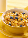 Breakfast : corn flakes with blueberries Stock Photo