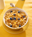 Breakfast : corn flakes with blueberries in the mo Royalty Free Stock Photography