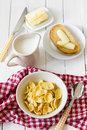 Breakfast corn flakes healthy with and milk Stock Photos