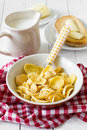 Breakfast corn flakes healthy with and milk Royalty Free Stock Photo