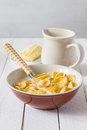Breakfast corn flakes healthy with and milk Stock Photo