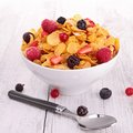 Breakfast cornflakes berries fruits Royalty Free Stock Photos