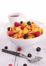 Breakfast cornflakes berries fruits Royalty Free Stock Images
