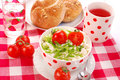 Breakfast with cottage cheese ,tomato and chive Royalty Free Stock Photos