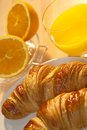 Breakfast Croissant, Oranges and Orange Juice Stock Photo