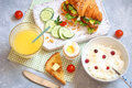 Breakfast with croissant sandwich, rice, Casas berries, boiled e Royalty Free Stock Photo