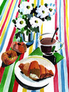 Breakfast with croissant watercolor impression painting Stock Image