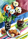 Breakfast with croissant watercolor impression painting Stock Images