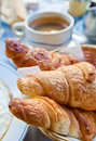 Breakfast with croissants Royalty Free Stock Images