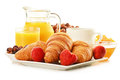 Breakfast with croissants cup of coffee and fruits french Stock Image