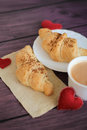 Breakfast with croissants for Valentines Day Royalty Free Stock Photo