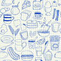 Breakfast doodles seamless pattern illustration of on squared paper Stock Photography