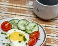 Breakfast easy with eggs vegetables and coffee Stock Images