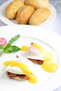 Breakfast, Eggs Benedict- toasted English muffins Royalty Free Stock Photo