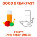 Breakfast elements vector flat and line icon fruits and fresh juices fresh and healthy diet food web design web icon food menu Royalty Free Stock Image