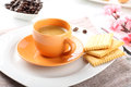 Breakfast with espresso coffee and biscuits Royalty Free Stock Photos