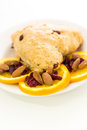 Breakfast espresso with fresh cranberry orange scone for Royalty Free Stock Photo