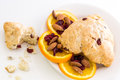 Breakfast espresso with fresh cranberry orange scone for Royalty Free Stock Images