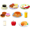 Breakfast food icons a vector illustration of illustration icon sets Royalty Free Stock Photo