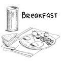 Breakfast food omelet bread graphic art black white sketch illustration