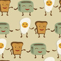 Breakfast friends pattern cute colorful seamless Royalty Free Stock Photos