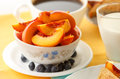Breakfast with fruits healthy nectarines and blueberries Stock Images