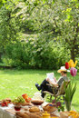 Breakfast in the garden. Royalty Free Stock Images