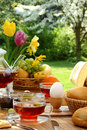 Breakfast in the garden. Stock Photo