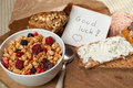 Breakfast and good luck message Stock Photography