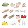 Breakfast hand drawing sketch eps Royalty Free Stock Images