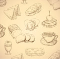 Breakfast hand drawn food Stock Image