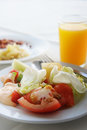 Breakfast healthy with salad and orange juice Royalty Free Stock Photo