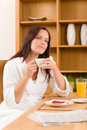 Breakfast at home dreamy woman with coffee Royalty Free Stock Images