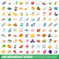 100 breakfast icons set, isometric 3d style