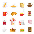 Breakfast icons set with sandwiches milk and coffee flat vector illustration Royalty Free Stock Photography