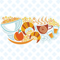 Breakfast illustration menu bread coffee cup apple juice Stock Photo