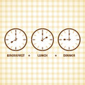 Breakfast Lunch and Dinner time Royalty Free Stock Photo