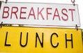Breakfast lunch signboard on the metal boards.
